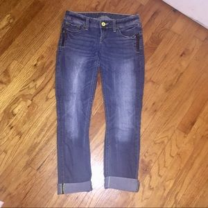 Express ZIPPER Accent Cropped Ankle Jeans 0